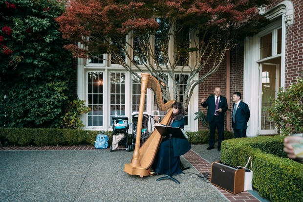wedding harpist at entrance to wedding