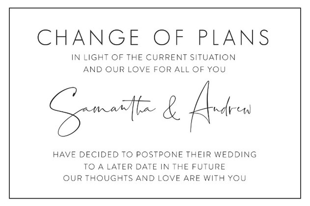 Printable Wedding Postponement Card