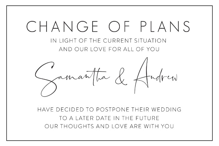 Print: Printable Wedding Postponement Card