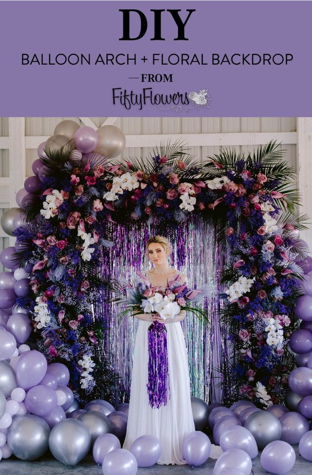 Diy Balloon arch and floral backdrop