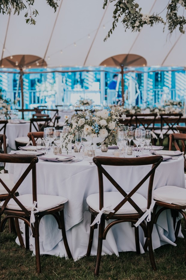 white and green wedding reception ideas
