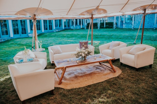 relaxed seating area at wedding