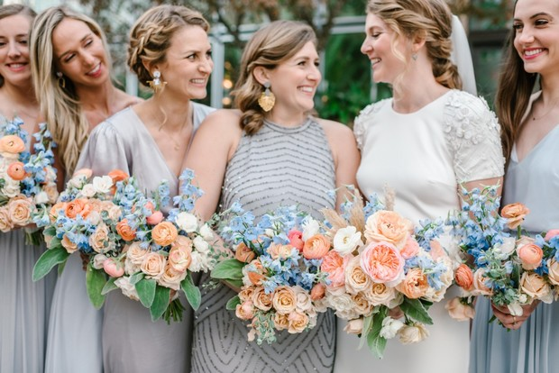 peachy pink and blue bridesmaid bouquets