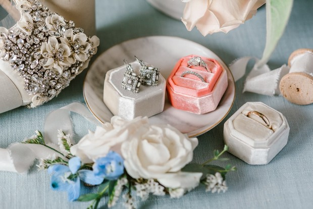 flat lay styling of wedding accessories