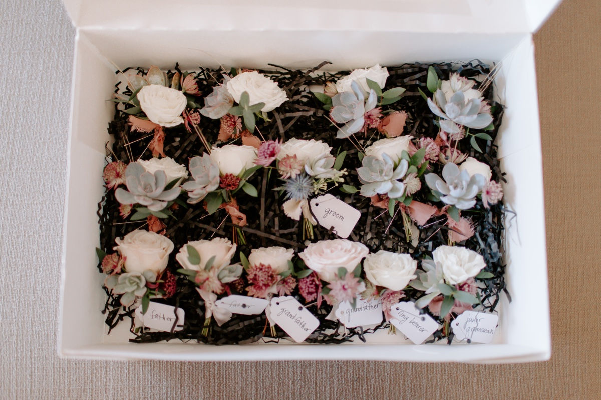 cactus and rose boutonnières