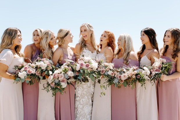mismatched shades of pink bridesmaid dresses