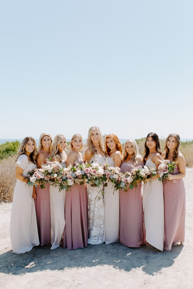 long pink mismatched bridesmaid dresses