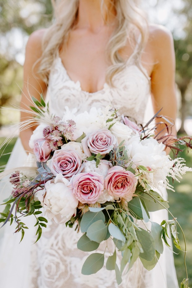 rose and eucalyptus wedding bouquet