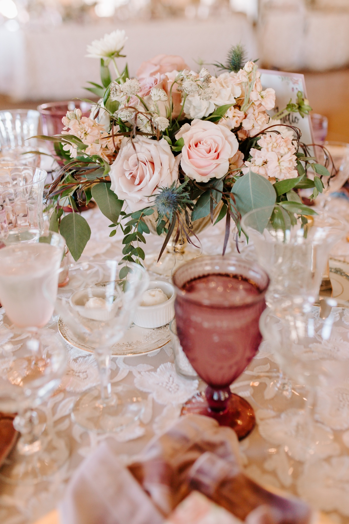 blush pink and eucalyptus floral arrangement