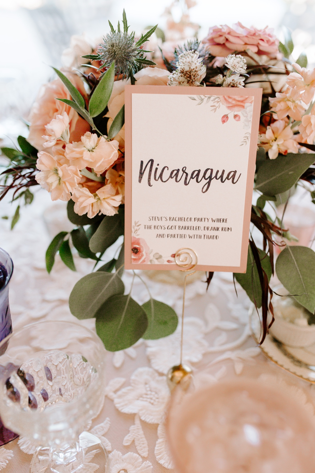 gold and pink table number ideas