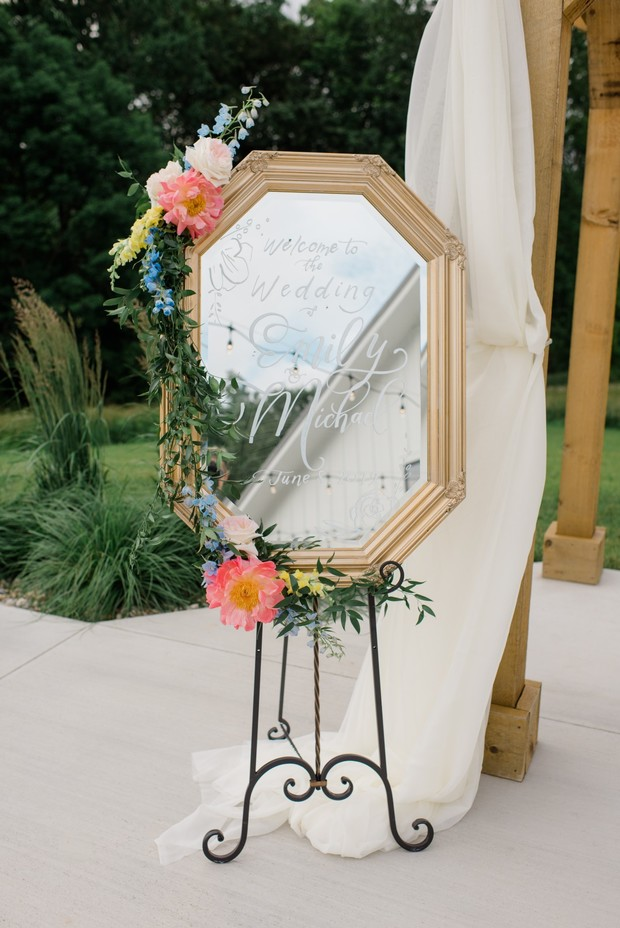 welcome wedding sign on vintage mirror
