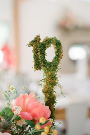 wedding table numbers in moss