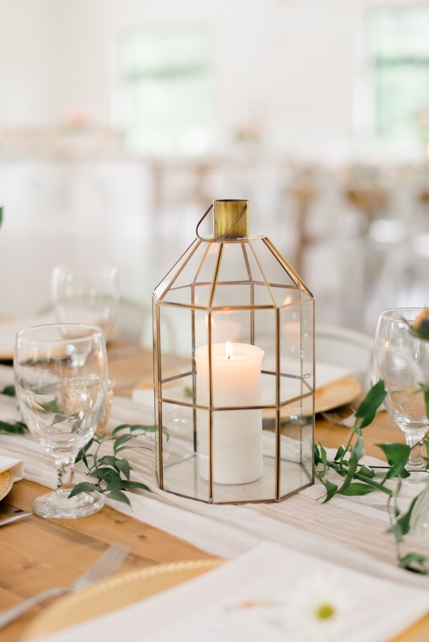 gold lantern with candle