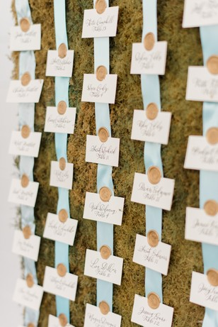 garden wedding escort display idea