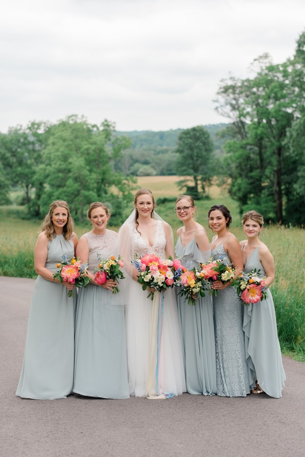 Jenny Yoo light blue mismatched bridesmaid dresses