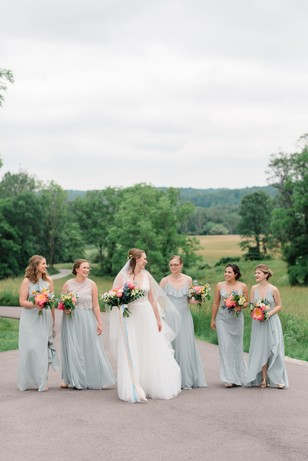 bridesmaids in light blue bridesmaid dresses