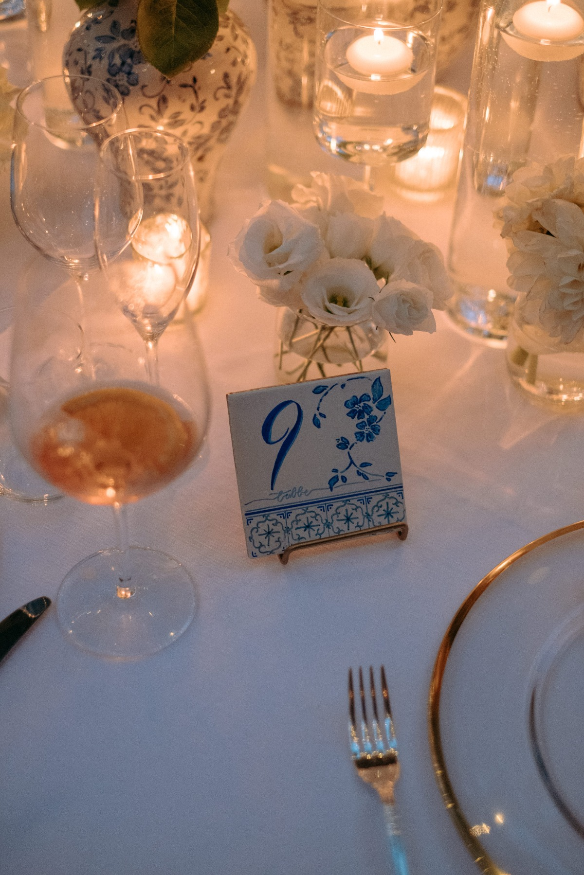 hand painted wedding tiles as table numbers