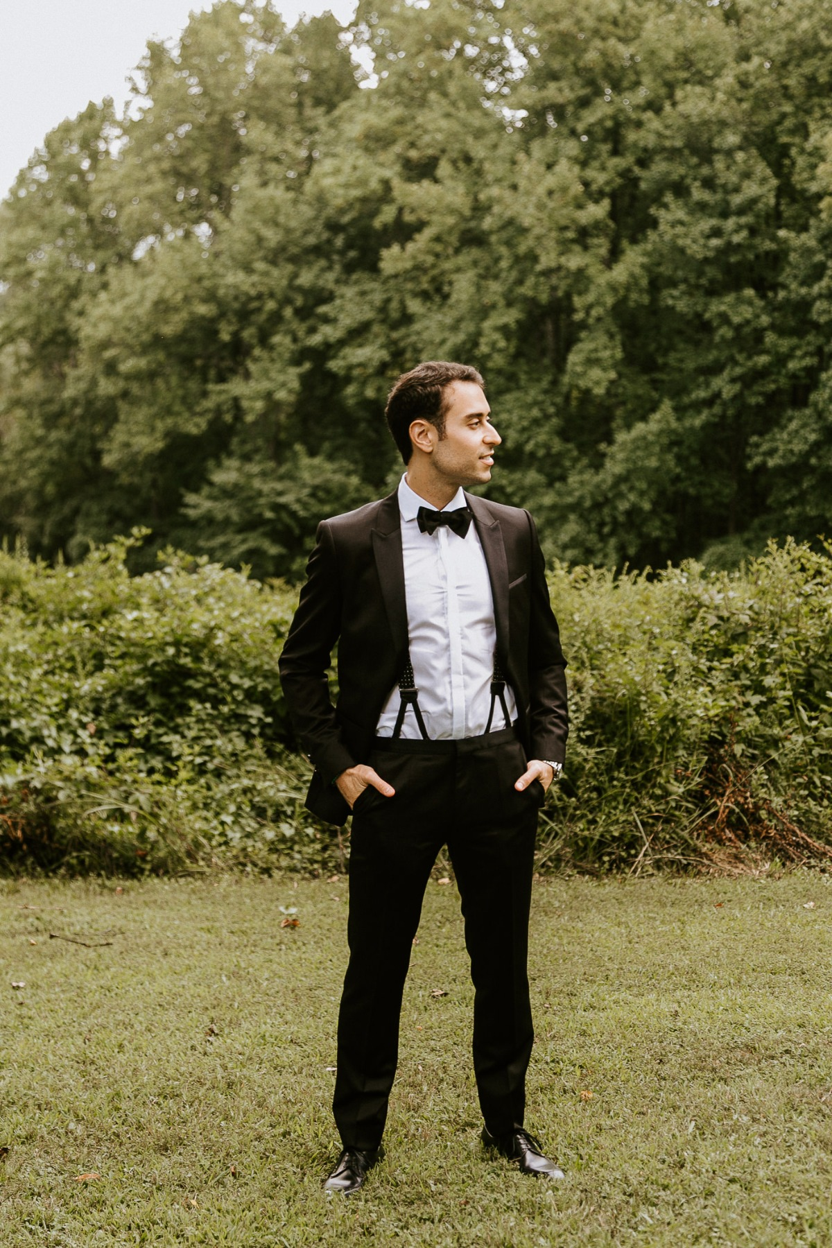 Groom outfit ideas - Black Tux with suspender