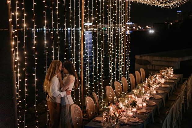 canopy of twinkle lights for wedding reception