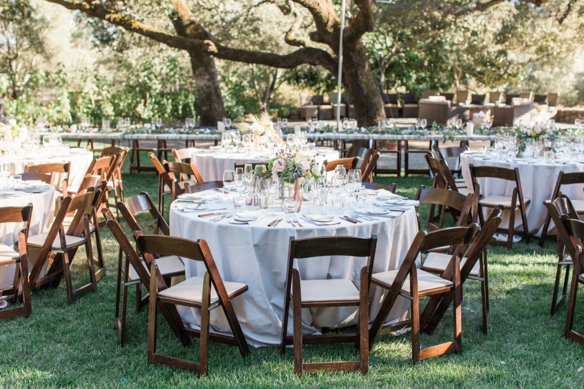 outdoor wedding reception at Beltane Ranch