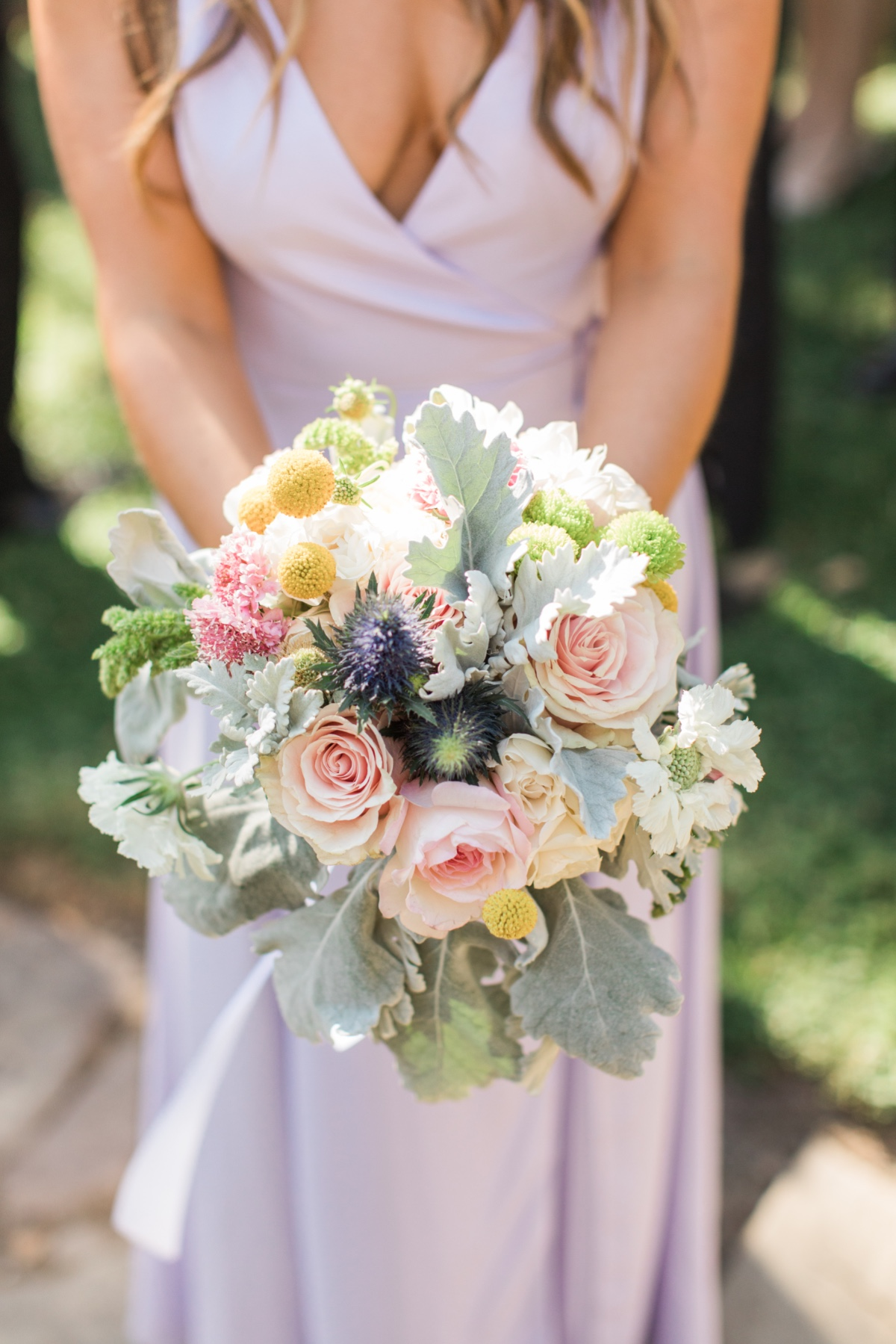 lambs ear, billy button and rose bridesmaid bouquet