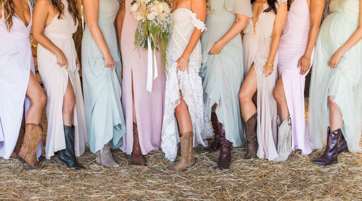 bridesmaid in cowgirl boots