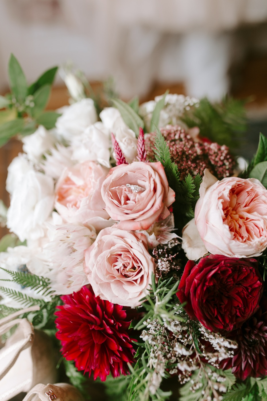 blush pin and red garden roses