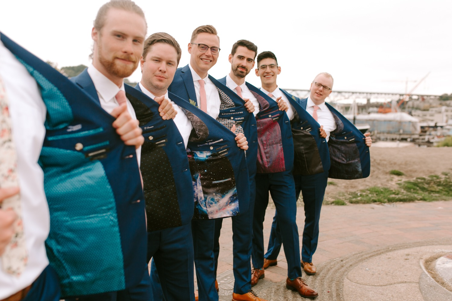 groom and his men with unique vests