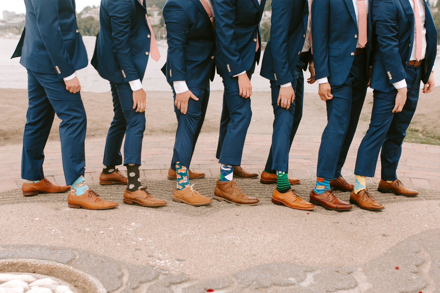 groom and his men with fun socks