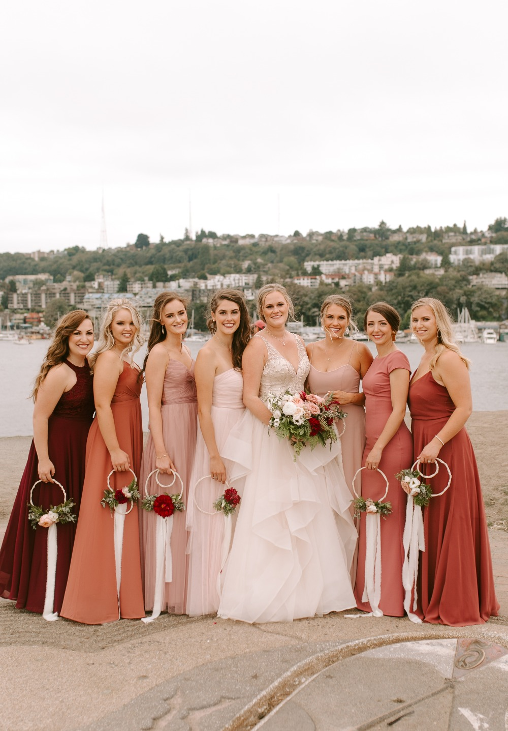 shades of peach bridesmaid dresses