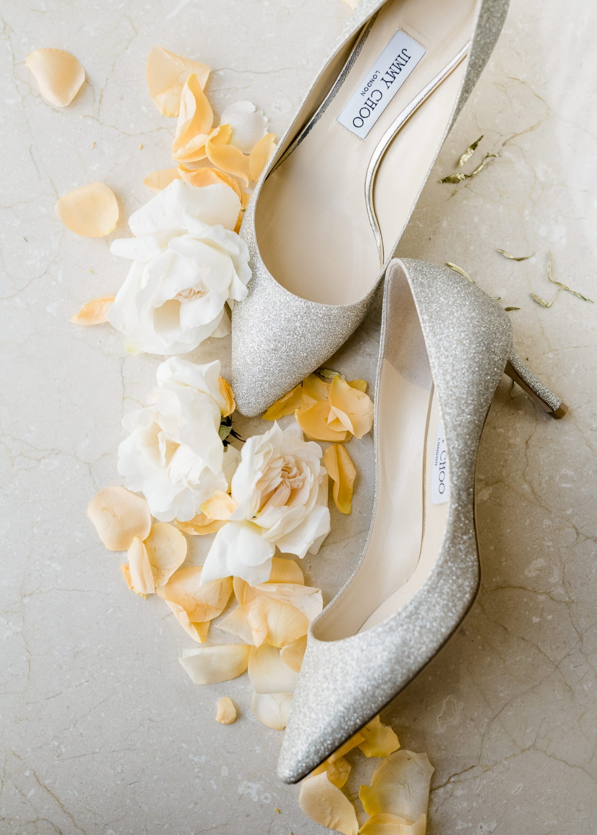 Jimmy Choo silver sparkly wedding shoes