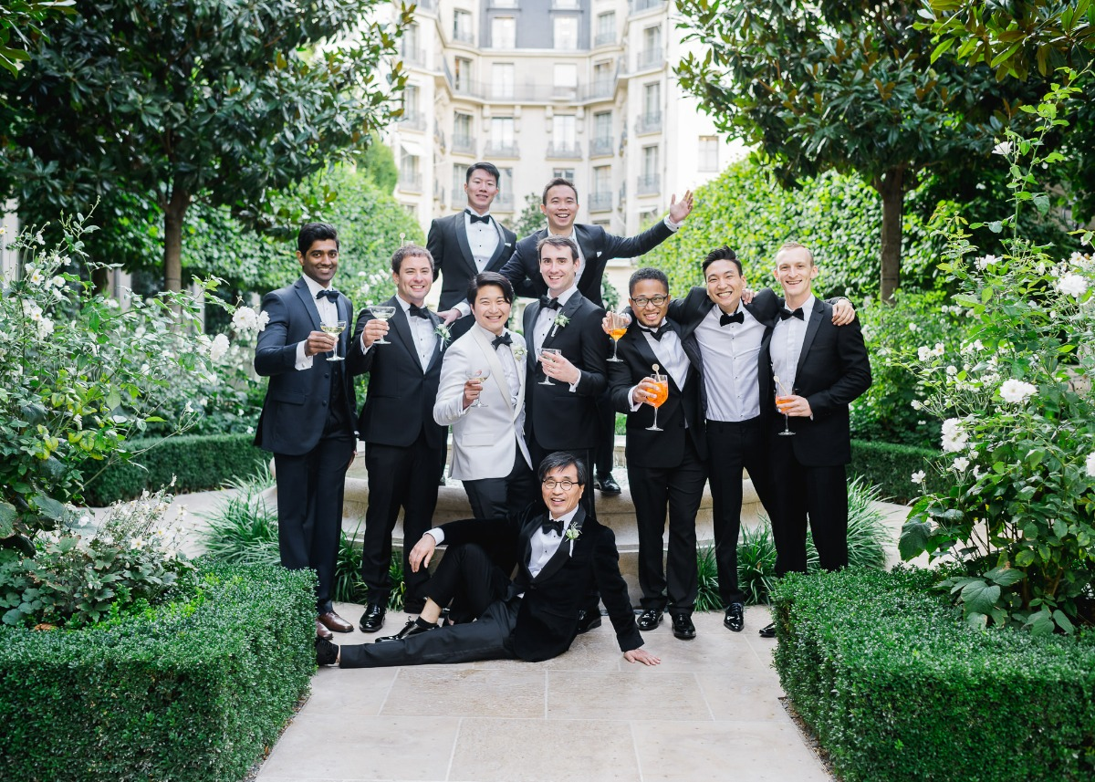 The Groom and his men having a cocktail