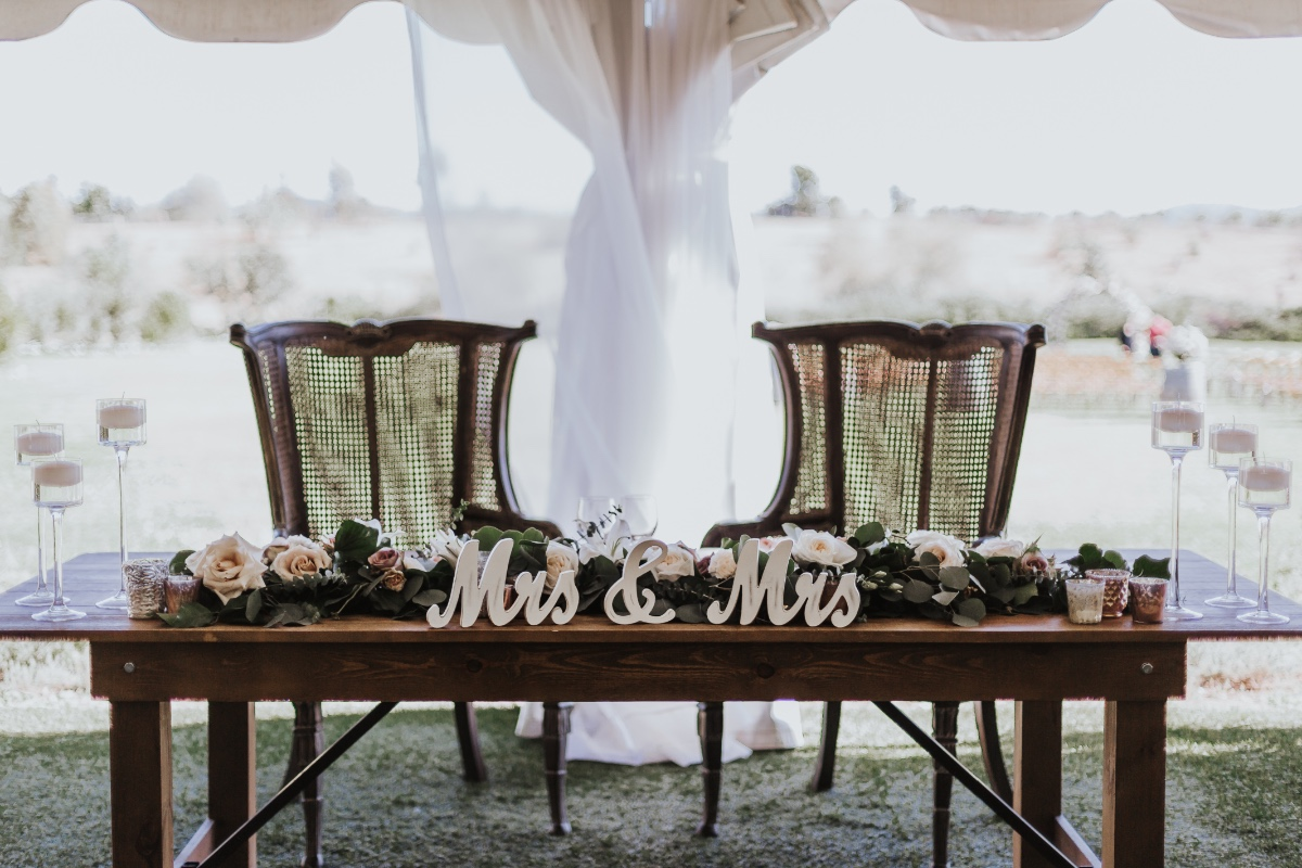 Mrs and Mrs Sweetheart table