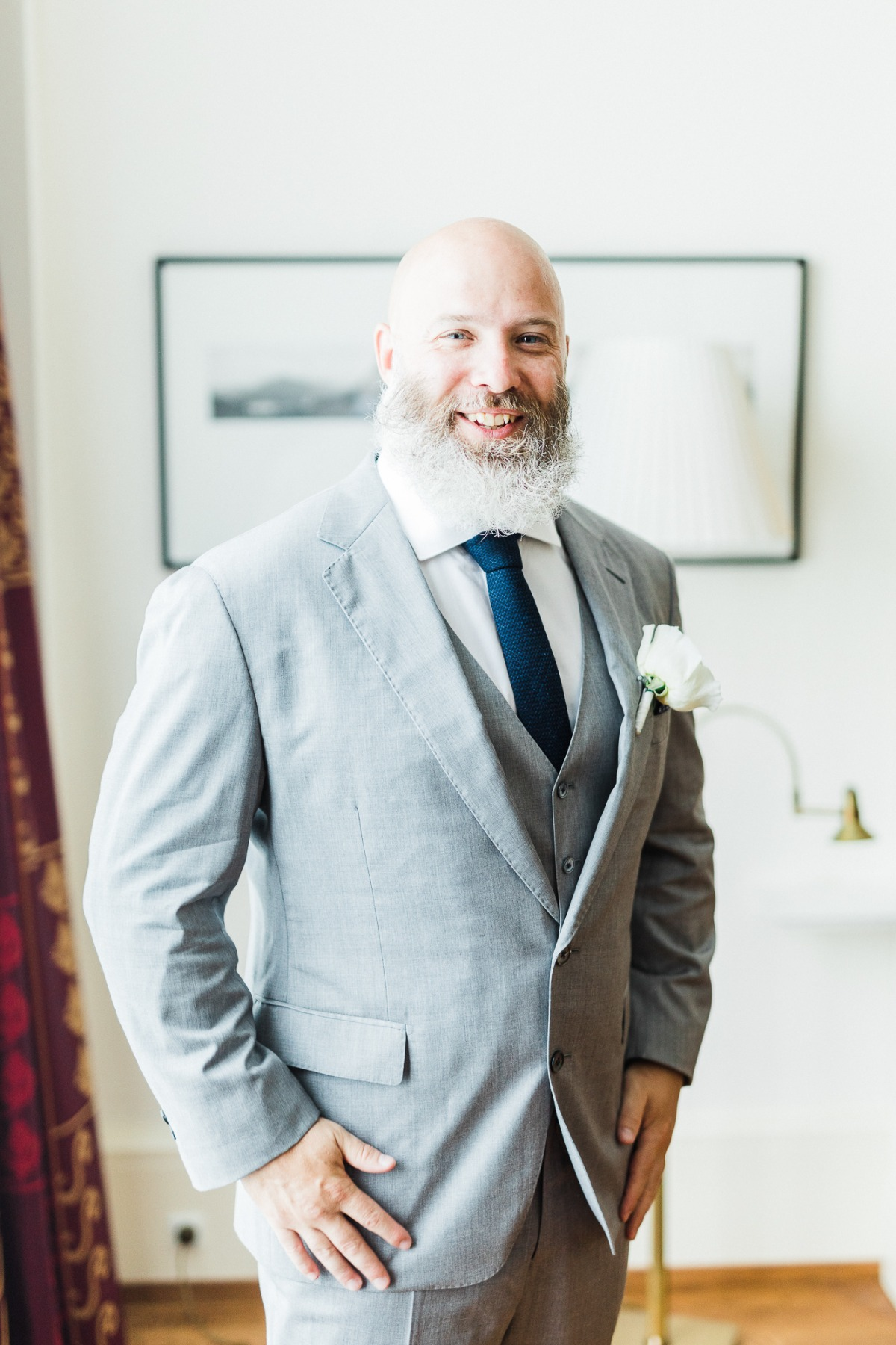 gray suit and navy tie for the groom