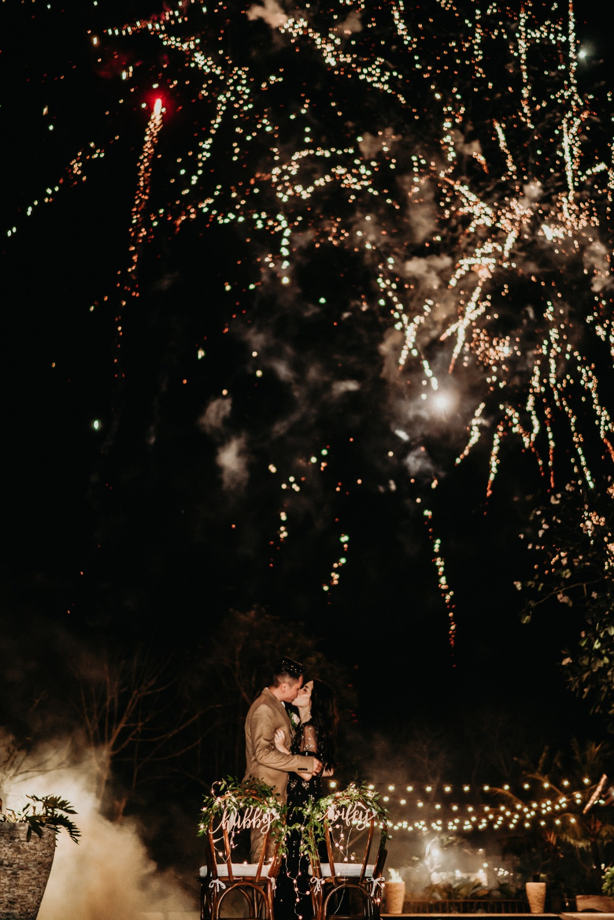 Fireworks at the end of wedding