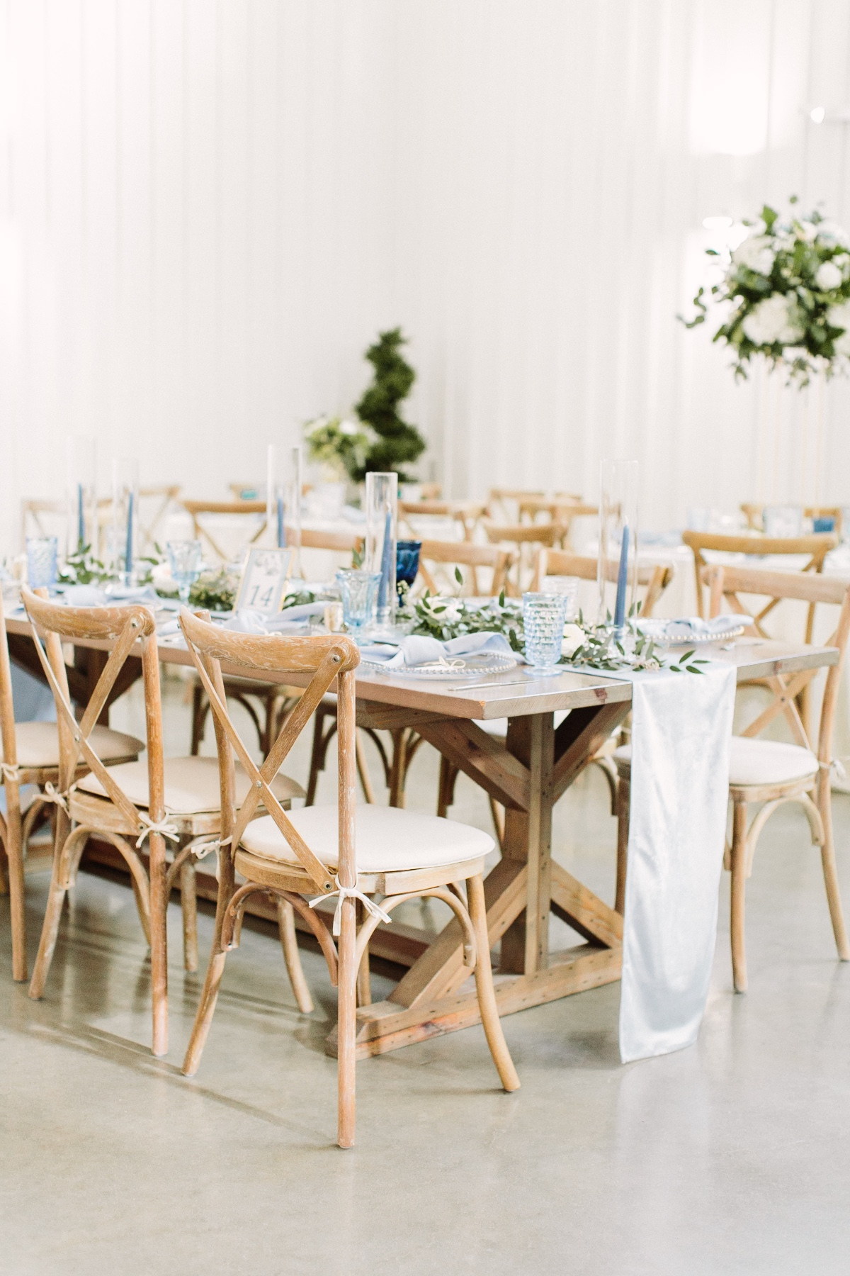rustic chic blue and green wedding reception decor