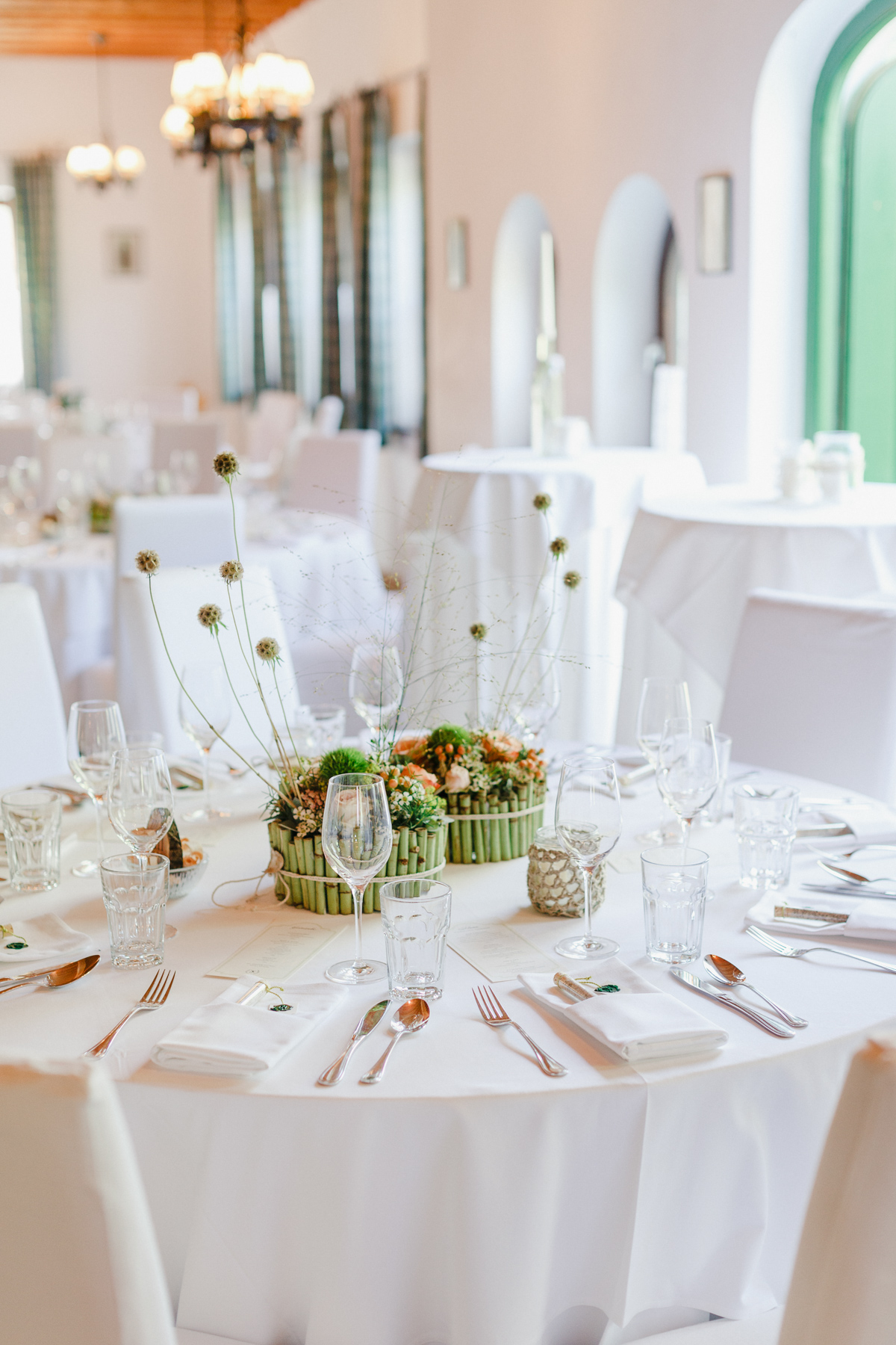 wedding centerpiece with bamboo