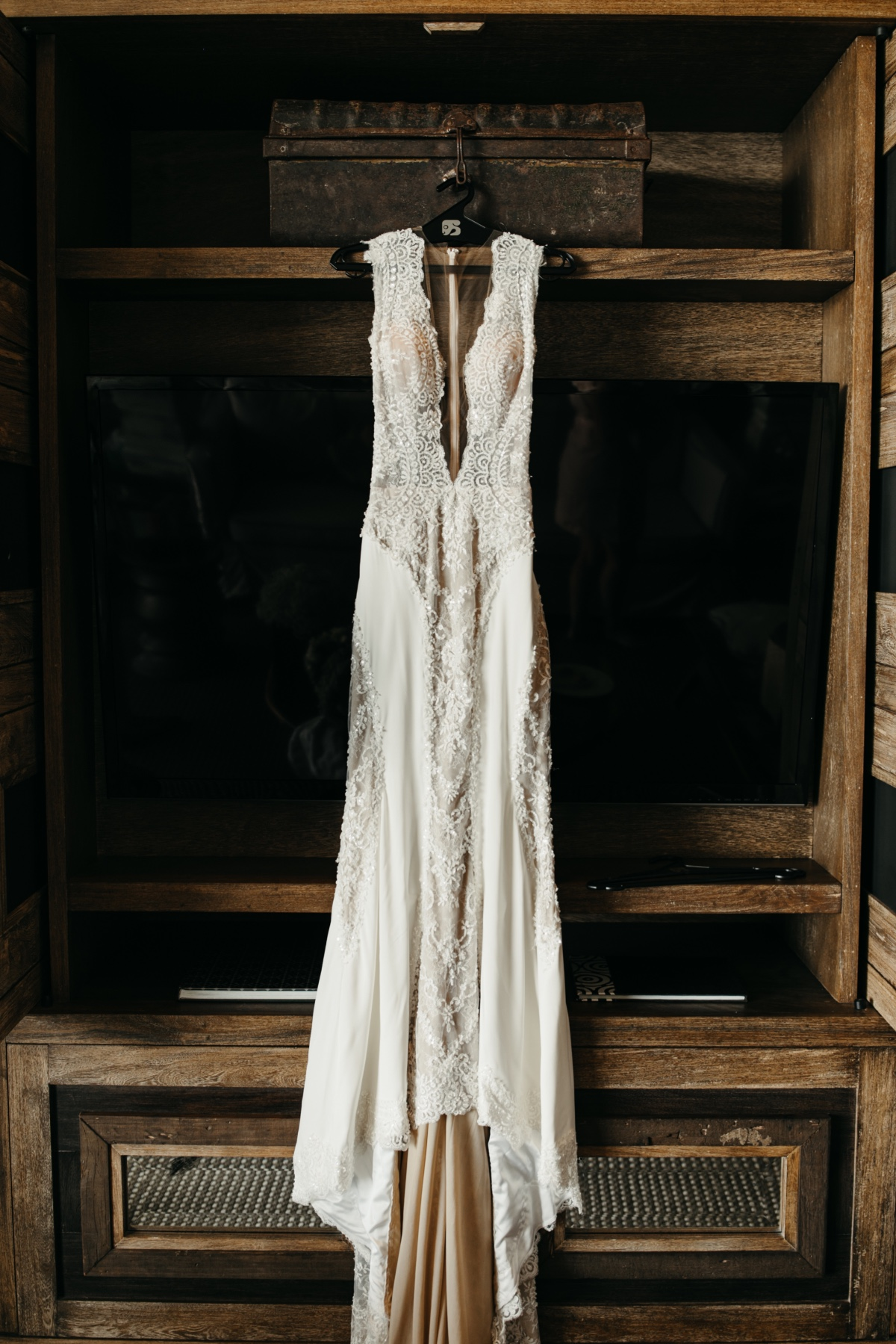 See through wedding dress with tank top sleeves