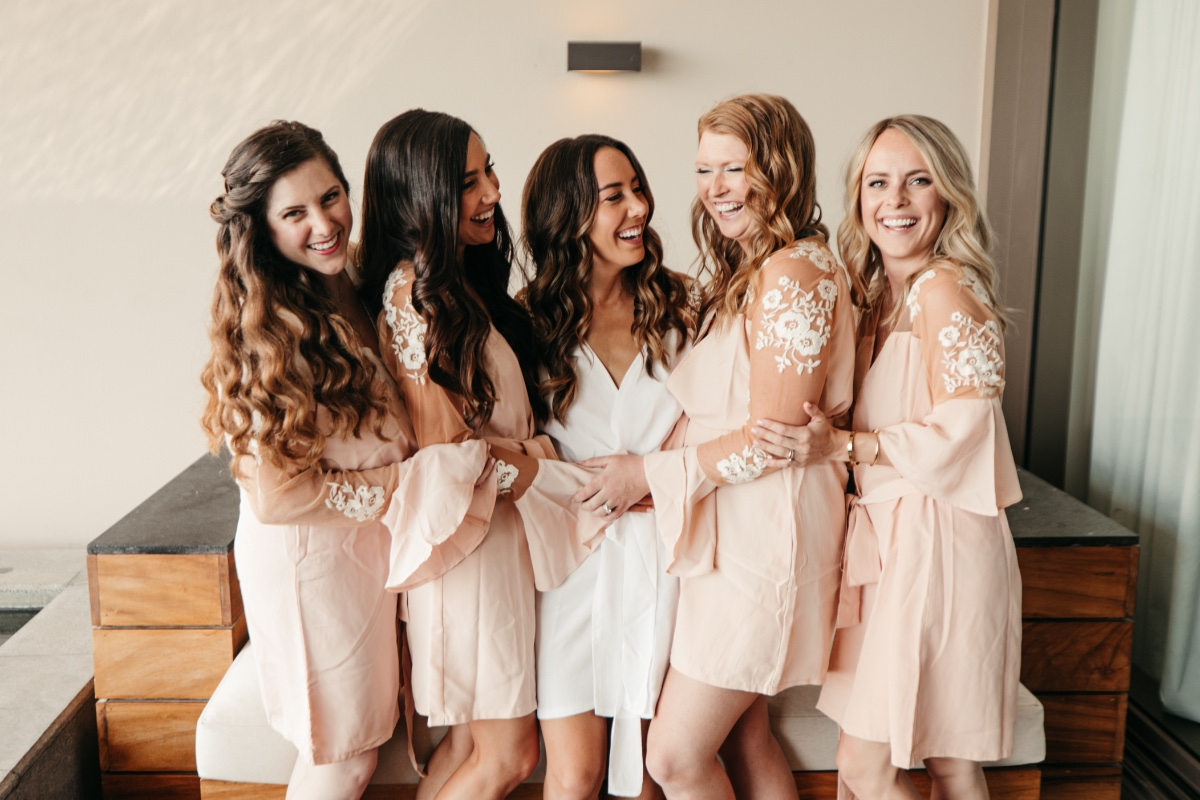 Bridesmaids in robe photos