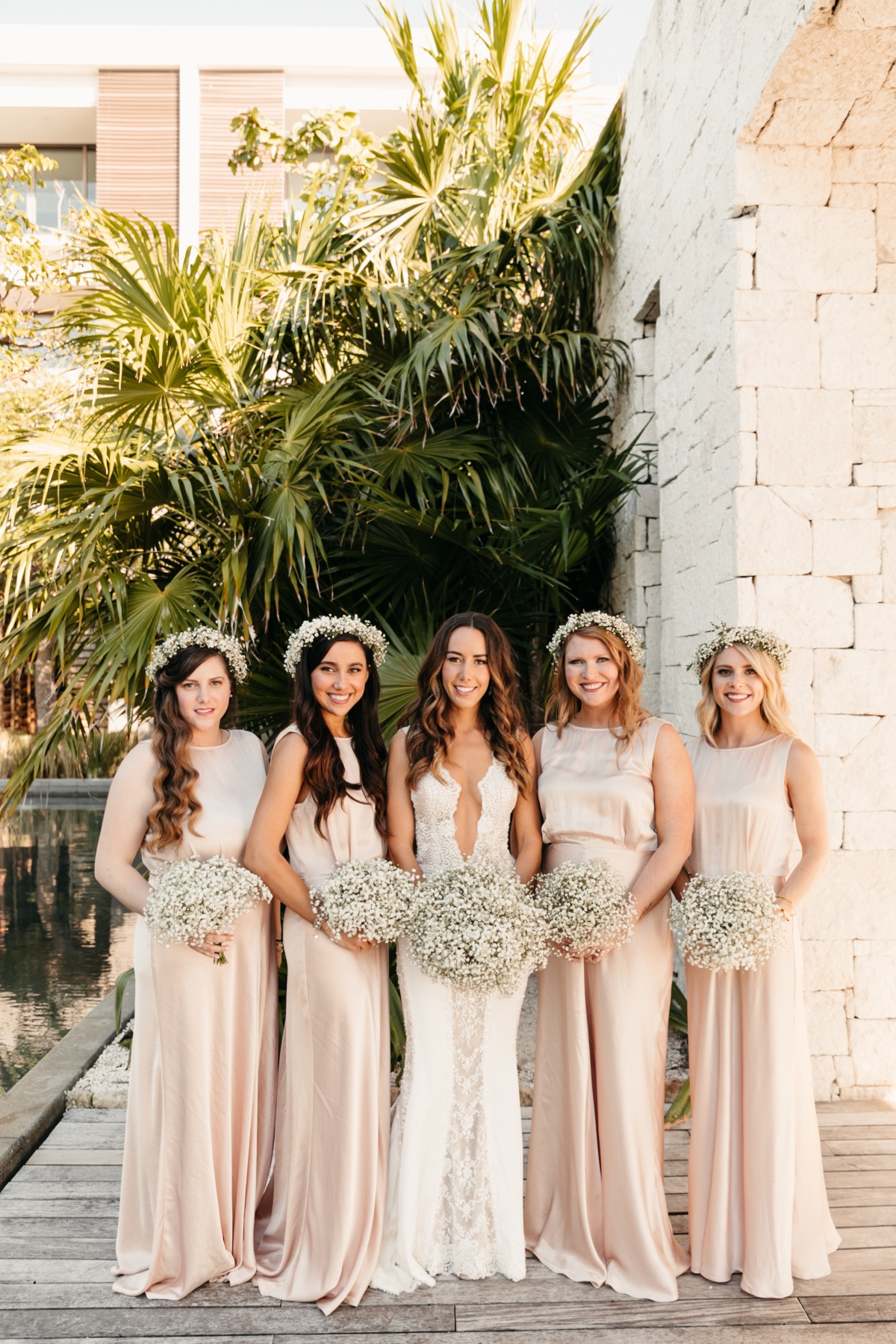 Floor-length Peach Bridesmaids Dresses