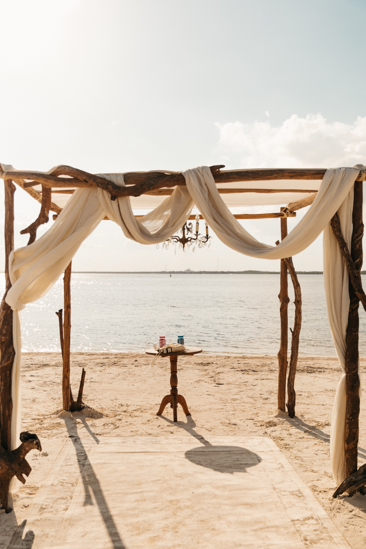 beach wedding ceremony set up