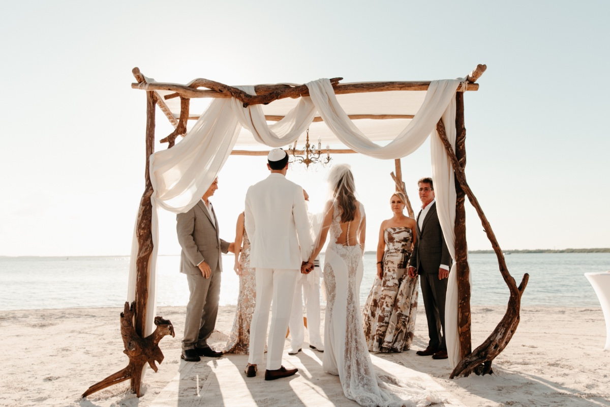Jewish beach wedding ceremony