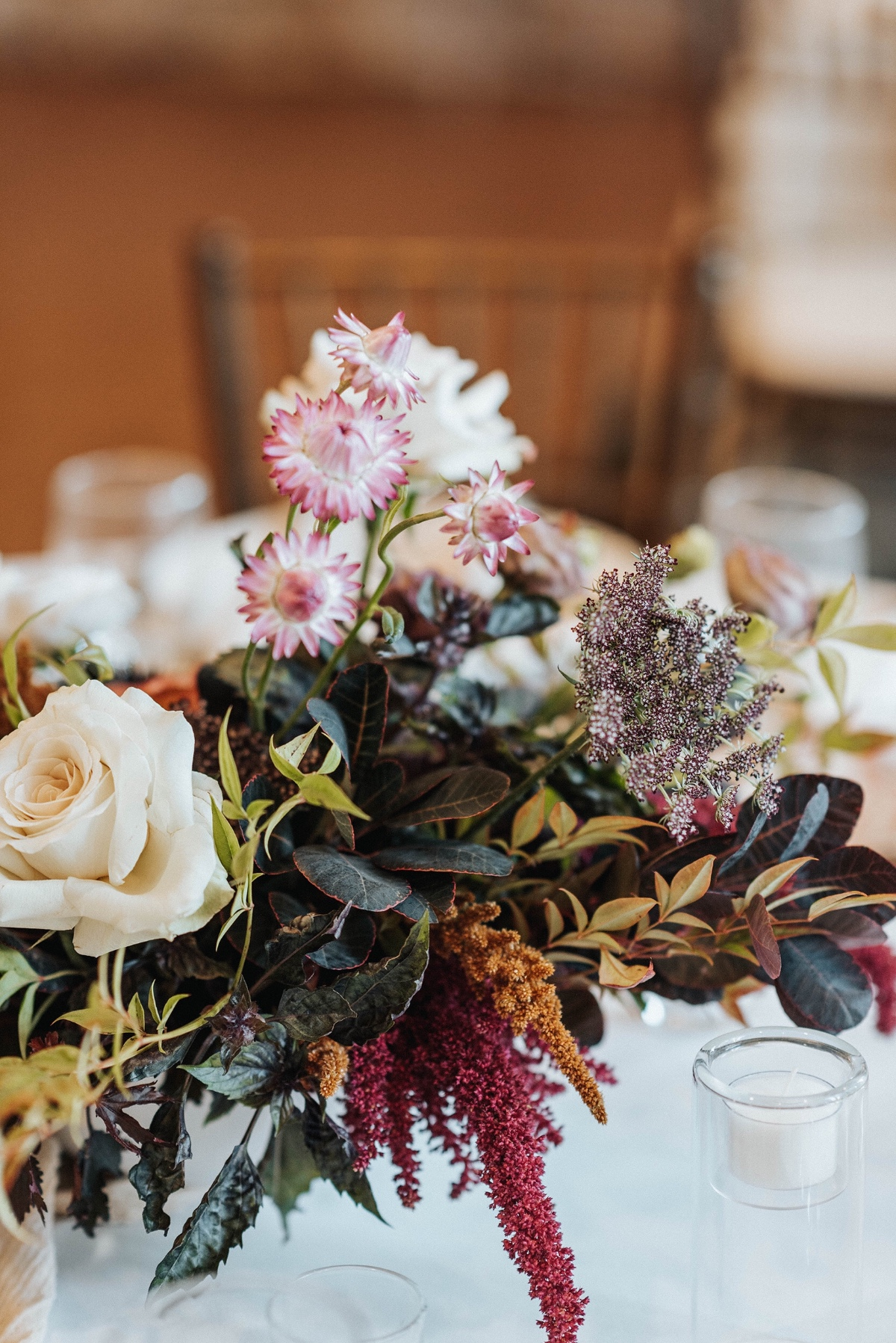 boho chic wedding floral arrangement