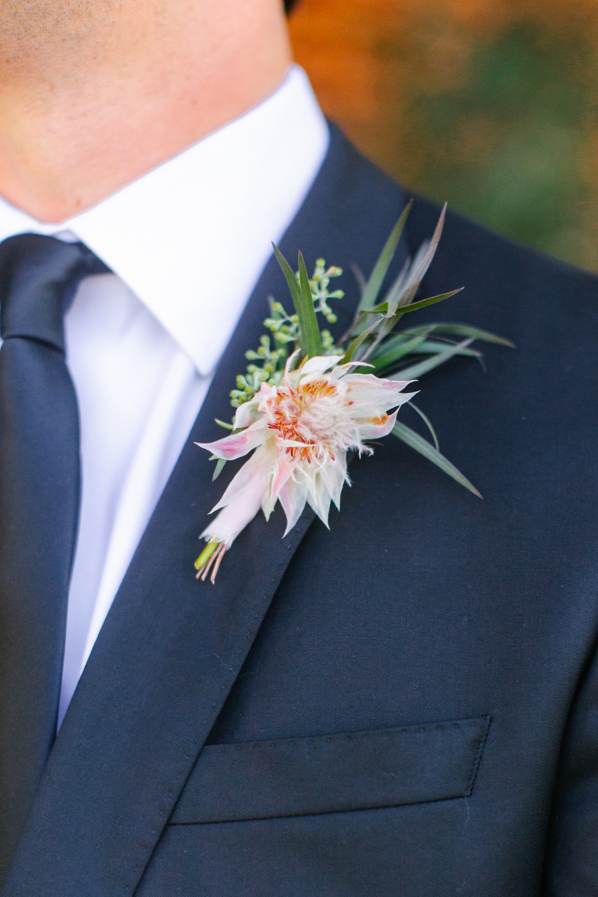 tropical inspired boutonnière