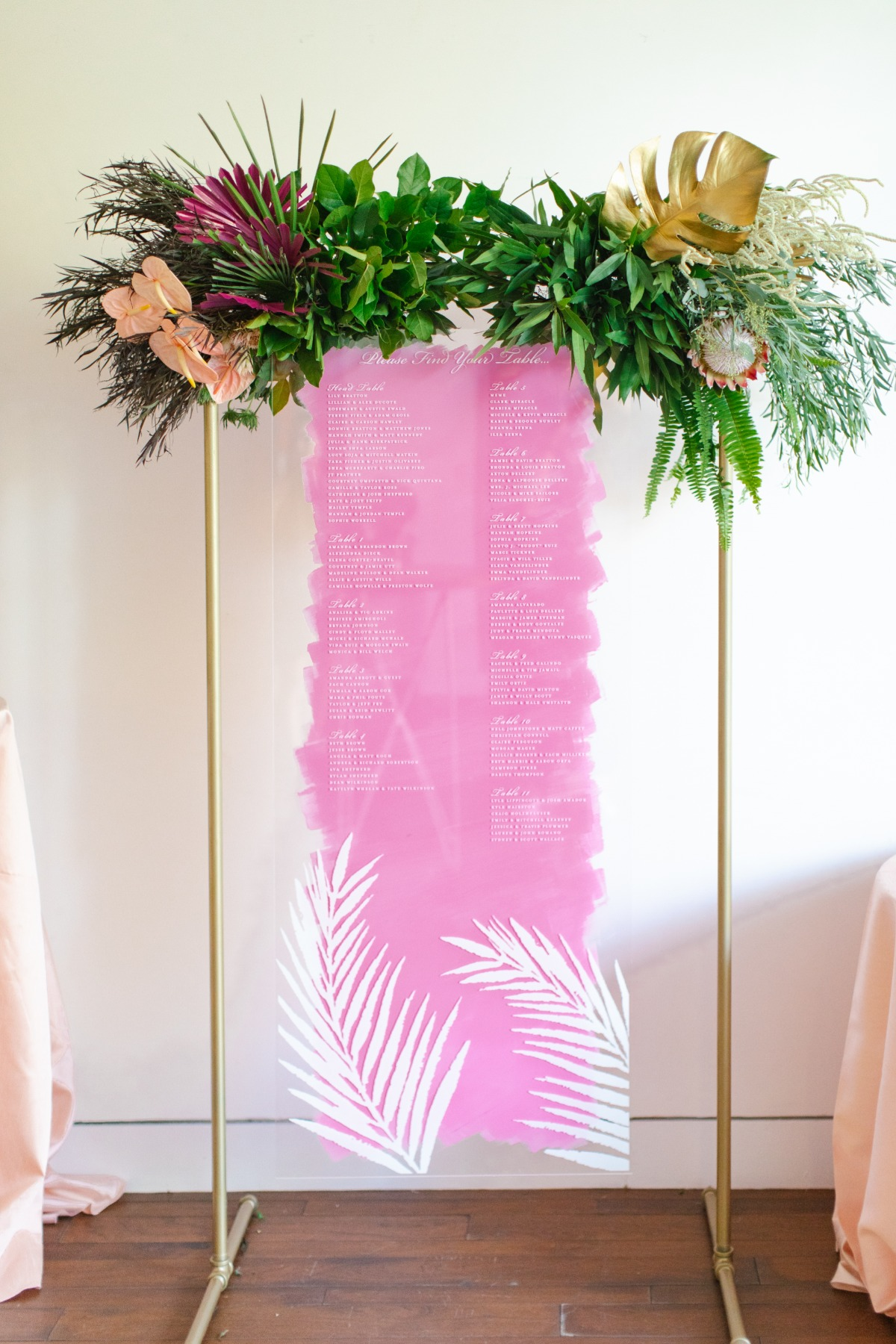 pink acrylic seating chart