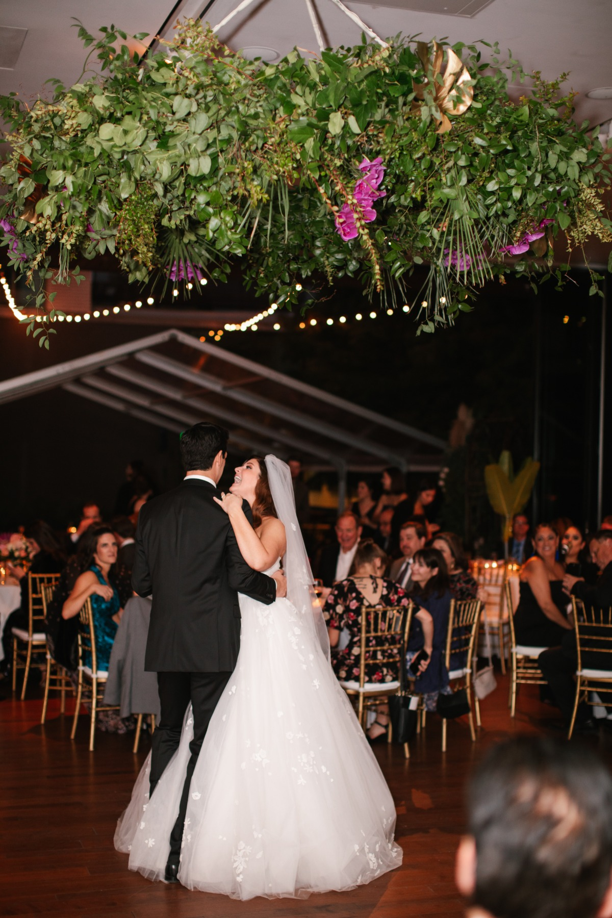 floral canopy at wedding