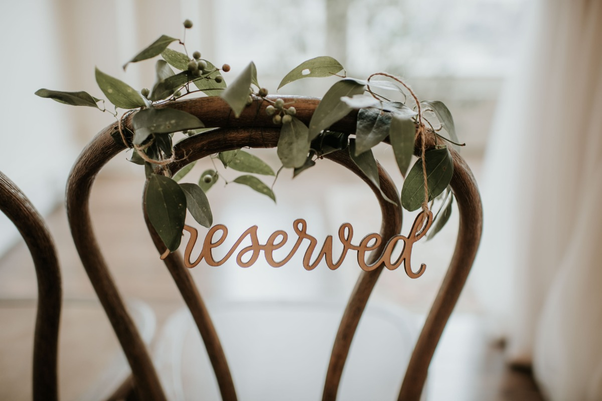 wooden reserved sign