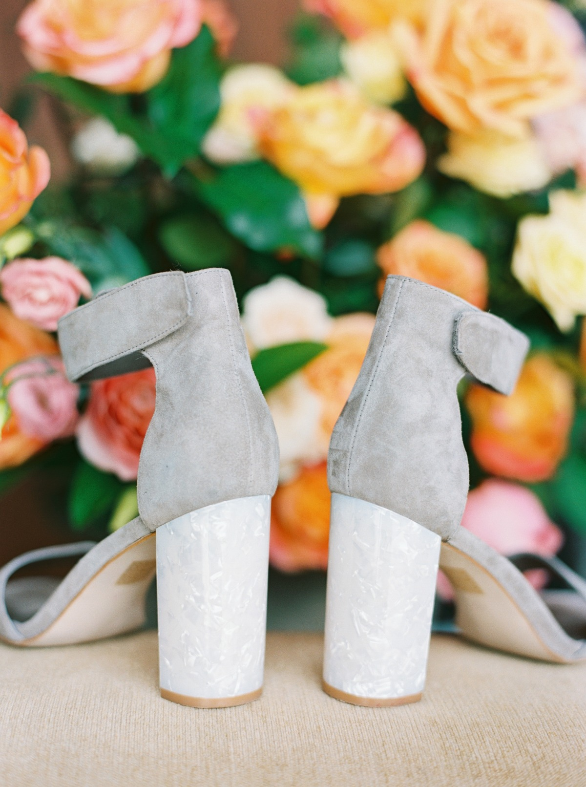 gray wedding shoes with lucite heels