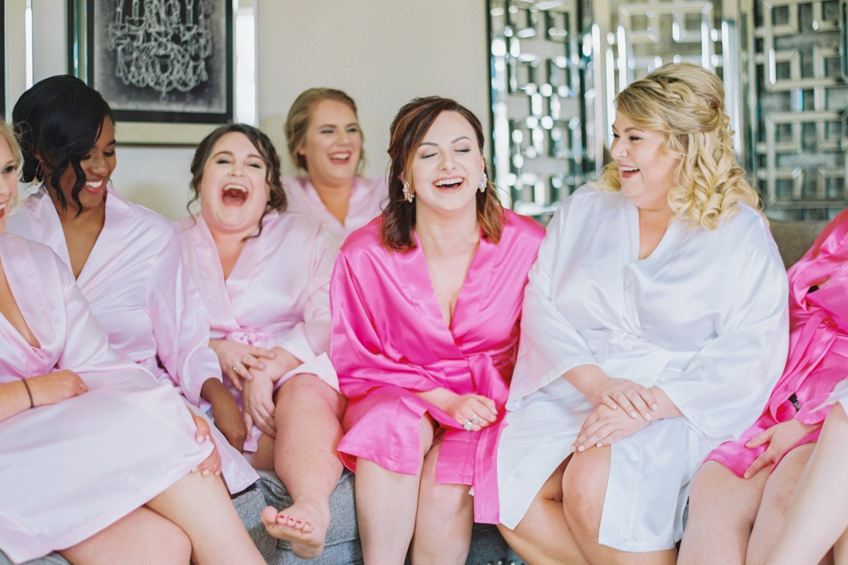 bridesmaid in pink silk robes