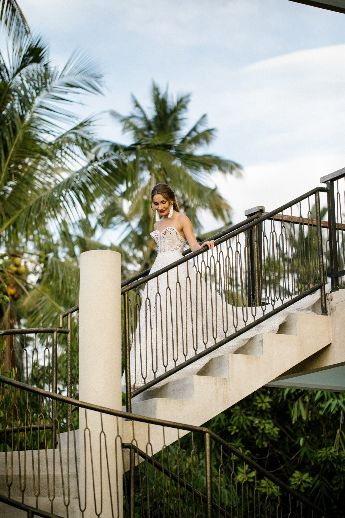 staircase wedding first look